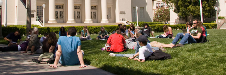 student on the lawn